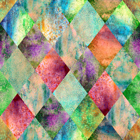 Watercolor argyle abstract green geometric plaid seamless pattern. Watercolour hand drawn bright colorful texture background. Textured print for textile, wallpaper, wrapping.