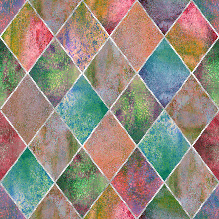 Watercolor argyle abstract geometric plaid seamless pattern with silver glitter line contour. Watercolour hand drawn bright colorful texture background. Print for textile, wallpaper, wrapping.