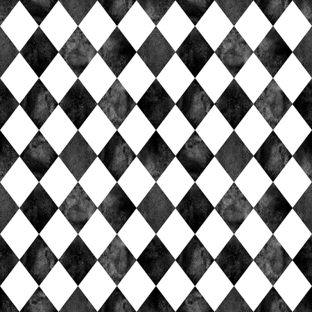 Watercolor black and white argyle seamless plaid pattern. Watercolour hand drawn texture background. Rhombus shapes background. Print for cloth design, textile, fabric, wallpaper, wrapping, tile. Stock fotó - 106221099