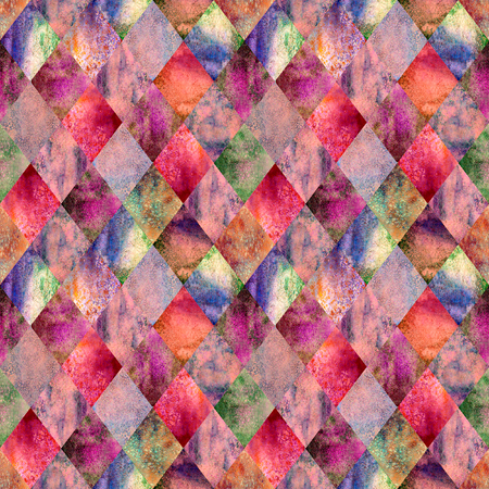 Watercolor argyle abstract geometric plaid seamless pattern. Watercolour hand drawn bright red colorful texture background. Textured print for textile, wallpaper, wrapping.