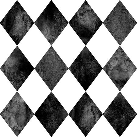 Black and white argyle seamless plaid pattern. Watercolour hand drawn texture background. Rhombus shapes textured background. Print for cloth design, textile, fabric, wallpaper, wrapping, tile. Stock Photo