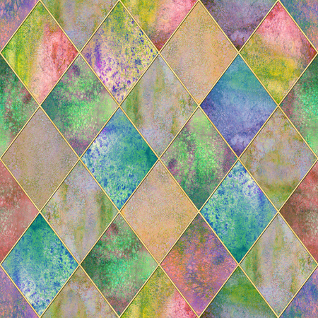 Watercolor argyle abstract geometric plaid seamless pattern with gold glitter line contour. Watercolour hand drawn colorful background. Glittering texture. Print for textile, wallpaper, wrapping.
