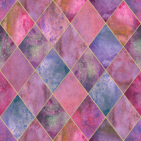 Watercolor argyle abstract geometric plaid seamless pattern with gold glitter contour. Watercolour hand drawn colorful pink background. Luxury glittering texture. Print for textile wallpaper wrapping