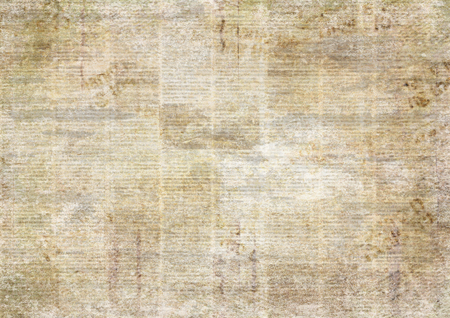 Newspaper old ancient grunge collage horizontal textured background. Unreadable vintage news paper pattern. Scratched paper texture page. Sepia newsprint background.