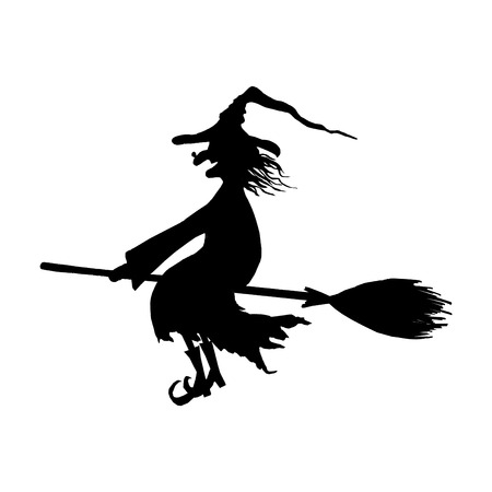 Halloween witch. Silhouette of smiling wicked witch flying on broomstick with hat with a wart on the nose isolated on white background. Icon illustration