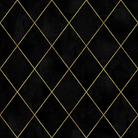 Watercolor black velvet argyle abstract geometric plaid seamless pattern with gold glitter line contour. Watercolour hand drawn luxury velour fabric texture background. Print for textile, wallpaper. Reklamní fotografie
