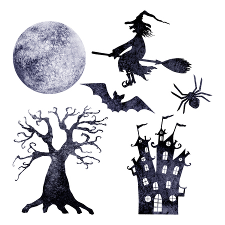Halloween watercolor silhouettes. Set of hand drawn watercolour smiling wicked witch flying on broom, spider, bat, terrible tree, castle isolated on white background. Halloween concept design elements