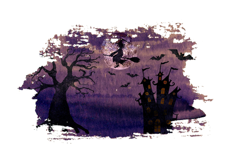 Halloween background with silhouettes of wicked witch flying on broom, terrible dead tree, castle, bats and full moon on watercolor hand drawn dark purple spooky night sky stain background.