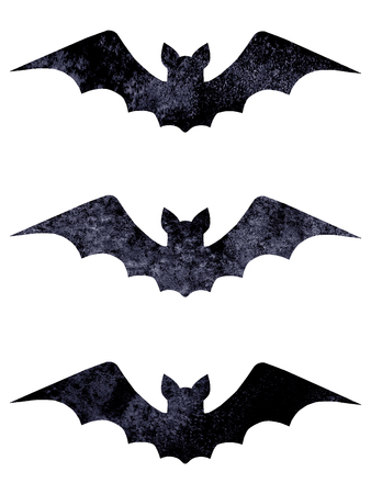 Halloween silhouettes set of three watercolor dark navy blue black terrible bats isolated on white background. Halloween night forest concept design element. Icon illustration