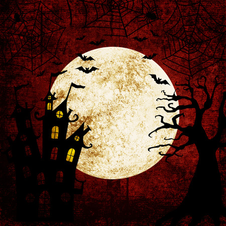 Halloween bloody red grunge background with full moon, silhouettes of bats, terrible dead tree, castle, webs and spiders on dark spooky night sky. Halloween, horror concept. Space for text. Stock Illustratie