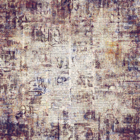 Old grunge newspaper paper textured background. Vintage newspaper pattern. Newsprint typed square sheet. Unreadable aged page. Sepia collage news pages background. Art rough urban style.