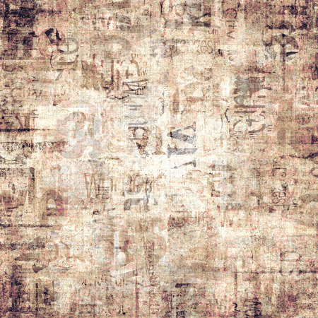 Old grunge newspaper paper textured square background. Vintage newspaper pattern. Newsprint typed sheet. Unreadable aged page. Sepia yellow colored collage news pages background. Art rough urban style. Stock Photo