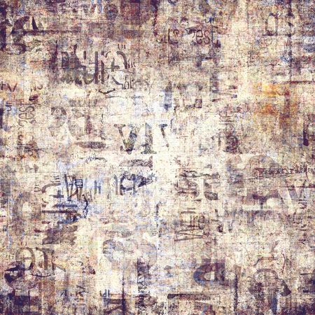 Old grunge newspaper paper textured square background. Vintage newspaper pattern. Newsprint typed sheet. Unreadable aged page. Sepia color bright collage news pages background. Art rough urban style. Stock Photo