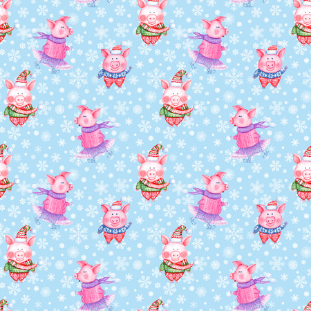2019 Happy New Year and Christmas seamless pattern illustration with watercolor hand drawn funny pigs in knitted clothes on blue background with snowflakes. Print for gift wrapping, greeting cards. Stock Photo