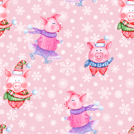 2019 Happy New Year and Christmas seamless pattern illustration with watercolor hand drawn funny pigs in knitted clothes on pink background with snowflakes. Print for gift wrapping, greeting cards. Stock Photo