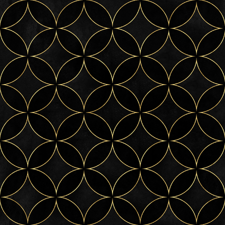 Black velvet luxury overlapping circles seamless texture. Watercolor hand drawn black and gold pattern background. Watercolour geometrical sphere shaped elements. Print for textile, wallpaper wrapping