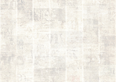 Newspaper with old unreadable text. Vintage grunge blurred paper news texture horizontal background. Textured page. Gray beige sepia collage. Front top view. Space for text.