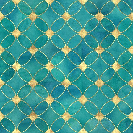 Nahtlose Aquarell aquamarin Türkis Gold Glitter abstrakte Textur. Aquarell handgezeichneter Grunge-Hintergrund mit überlappenden Kreisen und goldenem Konturmuster. Druck für Textilien, Tapeten, Verpackungen