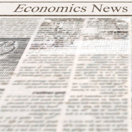 Newspaper with headline Economics News and old unreadable text. Vintage grunge blurred paper texture square background. Textured template page. Gray beige white collage. Space for text. 스톡 콘텐츠