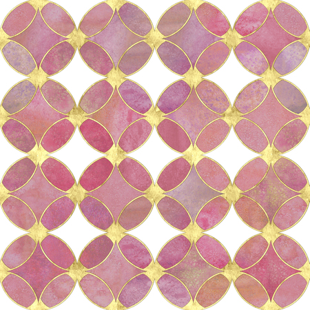 Seamless watercolour pastel colors gold glitter abstract texture. Watercolor hand drawn grunge background with pink overlapping circles and gold line pattern. Print for textile, wallpaper, wrapping.