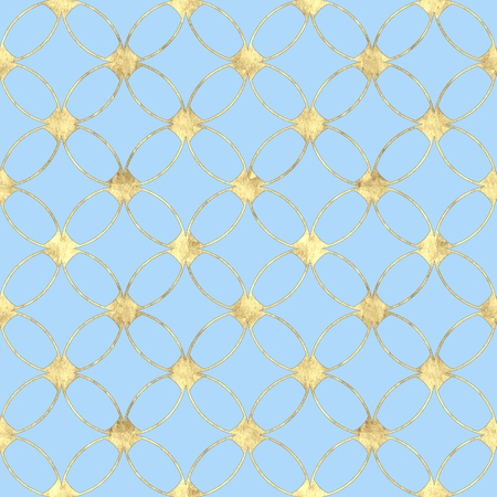 Seamless pastel blue background with abstract vintage gold glitter pattern. Texture with overlapping circles and golden contour line. Print for wallpaper, wrapping, wedding invitations.