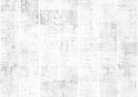 Newspaper with old unreadable text. Vintage grunge blurred paper news texture horizontal background. Textured page. Gray white collage. Space for text.