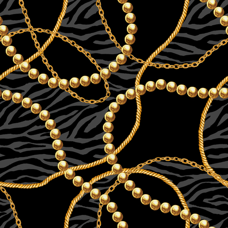Golden chain glamour zebra seamless pattern illustration. Watercolor hand drawn stripe fashion texture with gold chains on black background. Print for textile, fabric, wallpaper, wrapping.