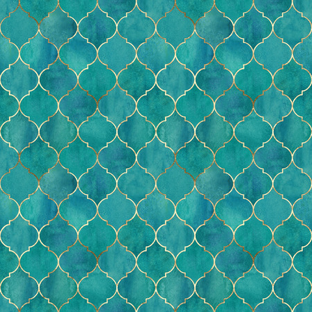 Vintage decorative moroccan seamless pattern with gold line. Watercolor hand drawn bright teal background. Watercolour geometrical oriental elements texture. Print for textile, wallpaper, wrapping.
