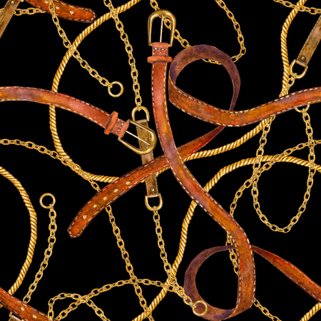 Golden chain, belt glamour seamless pattern. Watercolor hand drawn fashion texture with different golden chains and leather belts on black background. Print for textile, fabric, wallpaper, wrapping.
