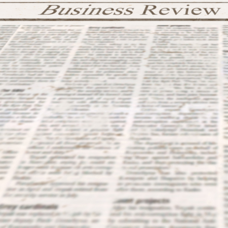 Newspaper with headline Business Review and old unreadable text. Vintage news grunge blurred paper texture square background. Textured template page. Gray beige white collage. Space for text. 스톡 콘텐츠