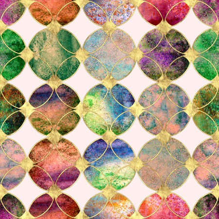 Abstract watercolour colorful gold glitter seamless texture. Watercolor hand drawn grunge background with overlapping circles and golden contour pattern. Print for textile, wallpaper, wrapping. 免版税图像