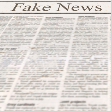 Newspaper with headline Fake News and old unreadable text. Vintage grunge blurred paper texture square background. Textured template page. Gray black white colors collage.