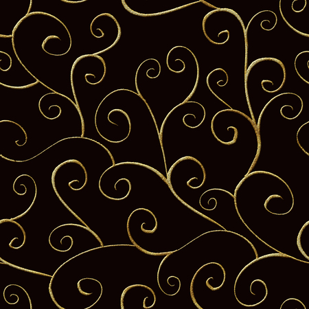 Baroque style seamless pattern ornament background. Elegant luxury fashion vintage retro damask floral illustration. Golden texture on black background. Print for textile, wallpaper, wrapping paper.