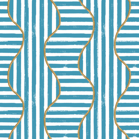 Seamless pattern sea nautical illustration. Watercolor hand drawn fashion texture with ropes and grunge blue stripes on white background. Watercolour print for textile, fabric, wrapping, wallpaper. 版權商用圖片