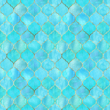 Vintage decorative moroccan seamless pattern with gold line. Watercolor hand drawn light teal blue background. Watercolour geometrical oriental elements texture. Print for textile, wallpaper wrapping
