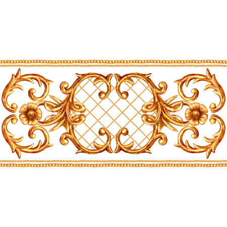 Baroque style golden ornamental segment seamless pattern. Watercolor hand drawn gold border frame with scrolls, leaves, chains and elements on white background. Watercolour vintage design collection.