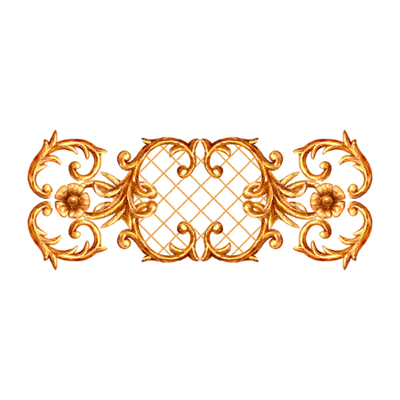 Baroque style golden ornamental element. Watercolor hand drawn gold segment with scrolls, leaves, chains and elements on white background. Watercolour vintage design collection.