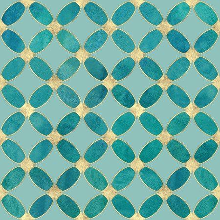 Seamless watercolour teal turquoise gold glitter abstract texture. Watercolor hand drawn grunge background with overlapping circles and golden contour pattern. Print for textile, wallpaper, wrapping