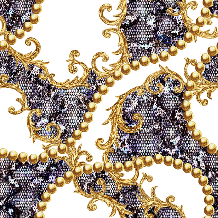 Golden baroque chain glamour snake skin seamless pattern illustration. Watercolor hand drawn fashion gold and animal texture on white background. Watercolour print for textile, fabric, wallpaper.