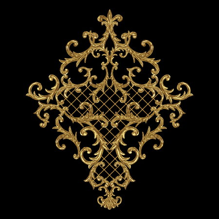 Baroque style gold element. Watercolor hand drawn vintage engraving floral scroll filigree rhombus design. Golden oriental damask curls and flowers pattern for greeting cards, wedding invitations.