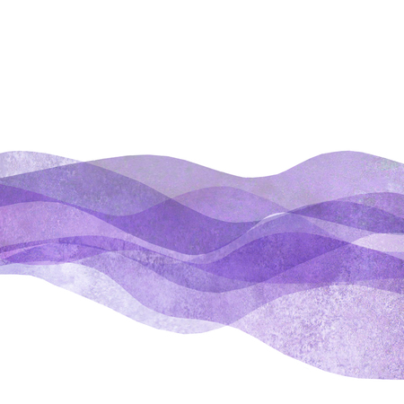 Watercolor transparent wave purple lavender colored background. Watercolour hand painted waves illustration. Banner frame backdrop isolated on white. Grunge color cover. Space for logo, text.