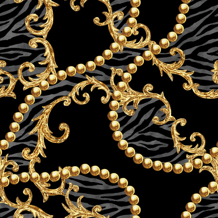 Golden chain seamless pattern. Watercolor hand drawn fashion texture with gold chains and baroque style elements on zebra striped background. Watercolour print for textile, fabric, wallpaper, wrapping