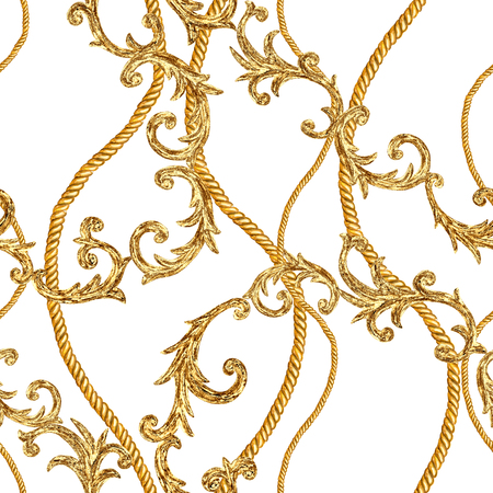 Golden chain glamour seamless pattern. Watercolor hand drawn fashion texture with gold chains and baroque style elements on white background. Watercolour print for textile, fabric, wallpaper, wrapping