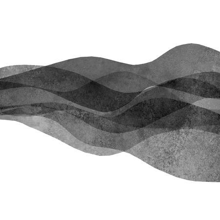 Watercolor transparent wave grunge monochrome black colored background. Watercolour hand painted waves illustration. Banner frame backdrop isolated on white. Grunge color cover. Imagens