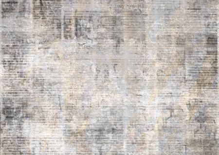 Giornale con vecchio testo illeggibile. Il grunge dell'annata ha offuscato il fondo orizzontale di struttura di notizie di carta. Pagina strutturata. Collage beige giallo grigio. Vista dall'alto frontale.