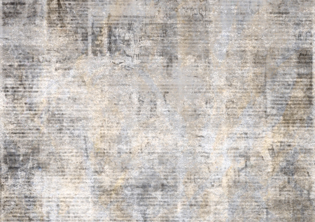 Newspaper with old unreadable text. Vintage grunge blurred paper news texture horizontal background. Textured page. Gray yellow beige collage. Front top view. Stock fotó