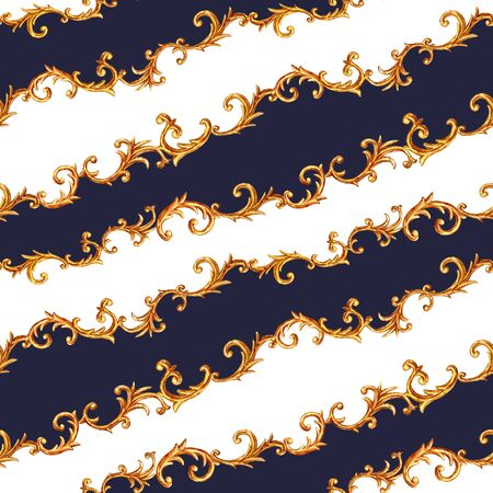 Design scarf with golden baroque elements. Golden baroque glamour pattern square illustration. Watercolor hand drawn fashion gold, white and blue navy texture. Watercolour print for scarves fabric.