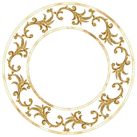 Gold round ornament baroque style element. Hand drawn vintage engraving floral scroll filigree circle frame design. Golden oriental damask pattern for logo, greeting cards, wedding invitations.