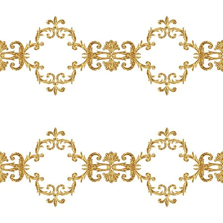 Baroque golden elements ornamental seamless pattern. Watercolor hand drawn gold texture on white background. Watercolour vintage design print for fabric, textile, wallpaper, wrapping paper, packaging.