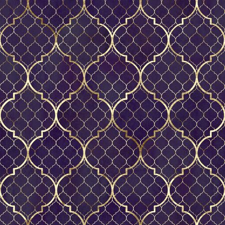 Watercolor abstract geometric seamless pattern. Vintage decorative moroccan texture with gold line. Watercolour hand drawn dark purple golden background. Print for textile, wallpaper, wrapping. Banco de Imagens